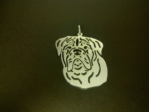 Dogue De Bordeaux ddb pendant sterling silver handmade by saw piercing Caroline Howlett Design